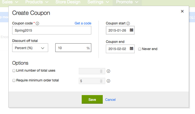 Promotions with GoDaddy Online Store | GoDaddy Online Store Review