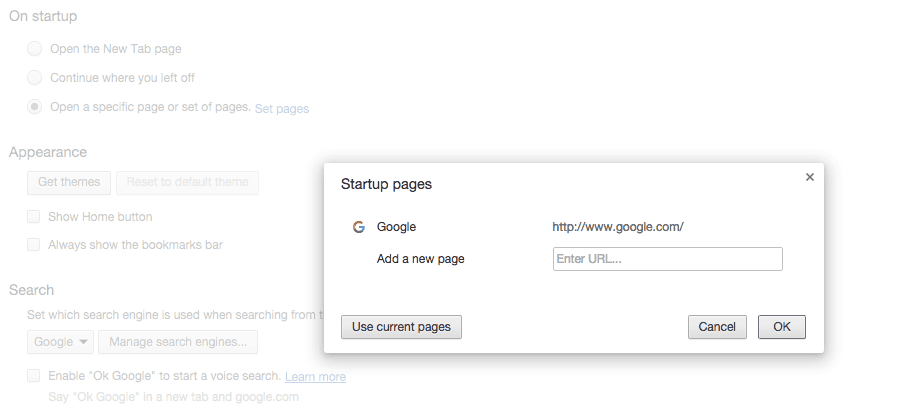 chrome-set-pages